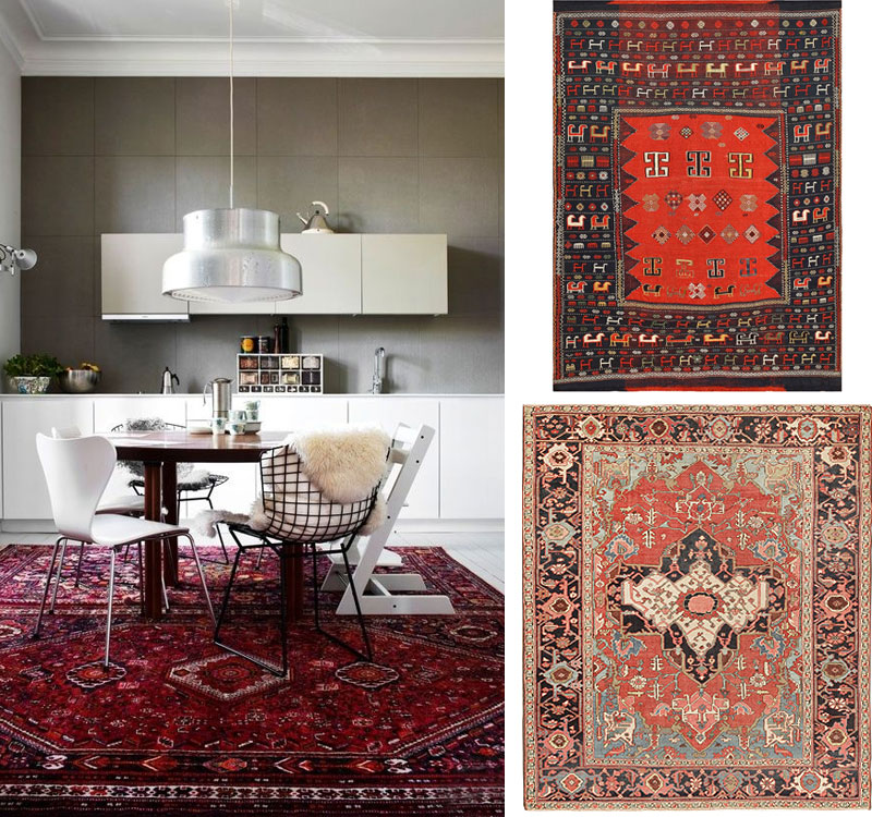 Antique Rugs with Modern Furniture Nazmiyal