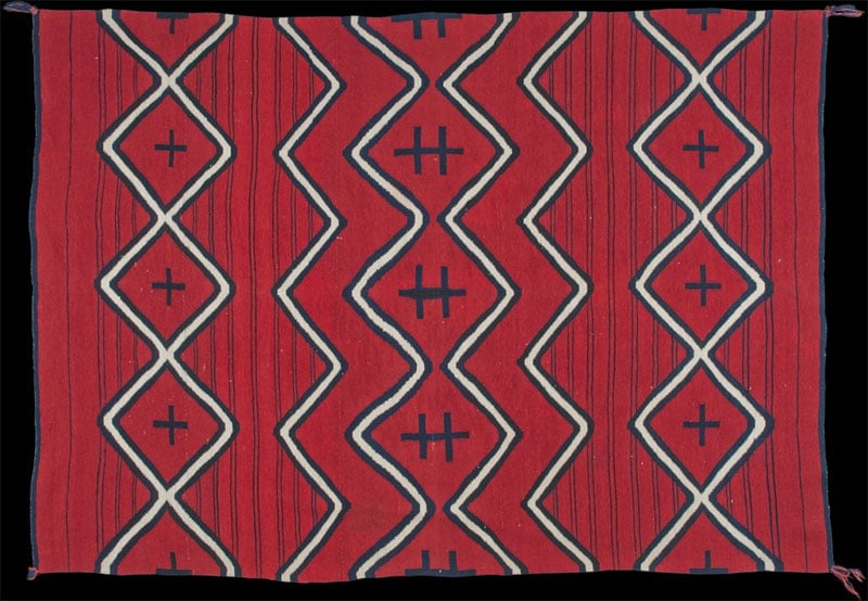 Navajo Serape Dyed with Cochineal Nazmiyal