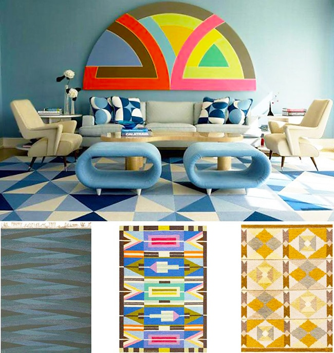 Geometric Blue Home Interior Designs by Nazmiyal