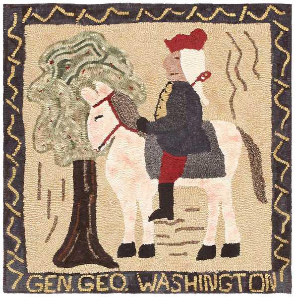 Vintage American Hooked Rug Depicting George Washington 46899