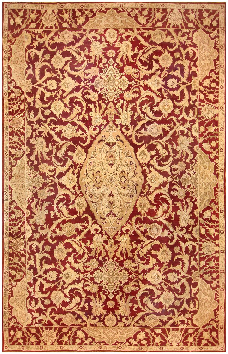 Large Antique Indian Agra Rug 44603 47703 Nazmiyal