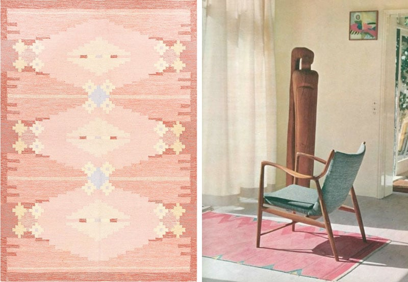 Nazmiyal Vintage Swedish Rug by Ingegerd Silow 48194. Left: Scandinavian Interior