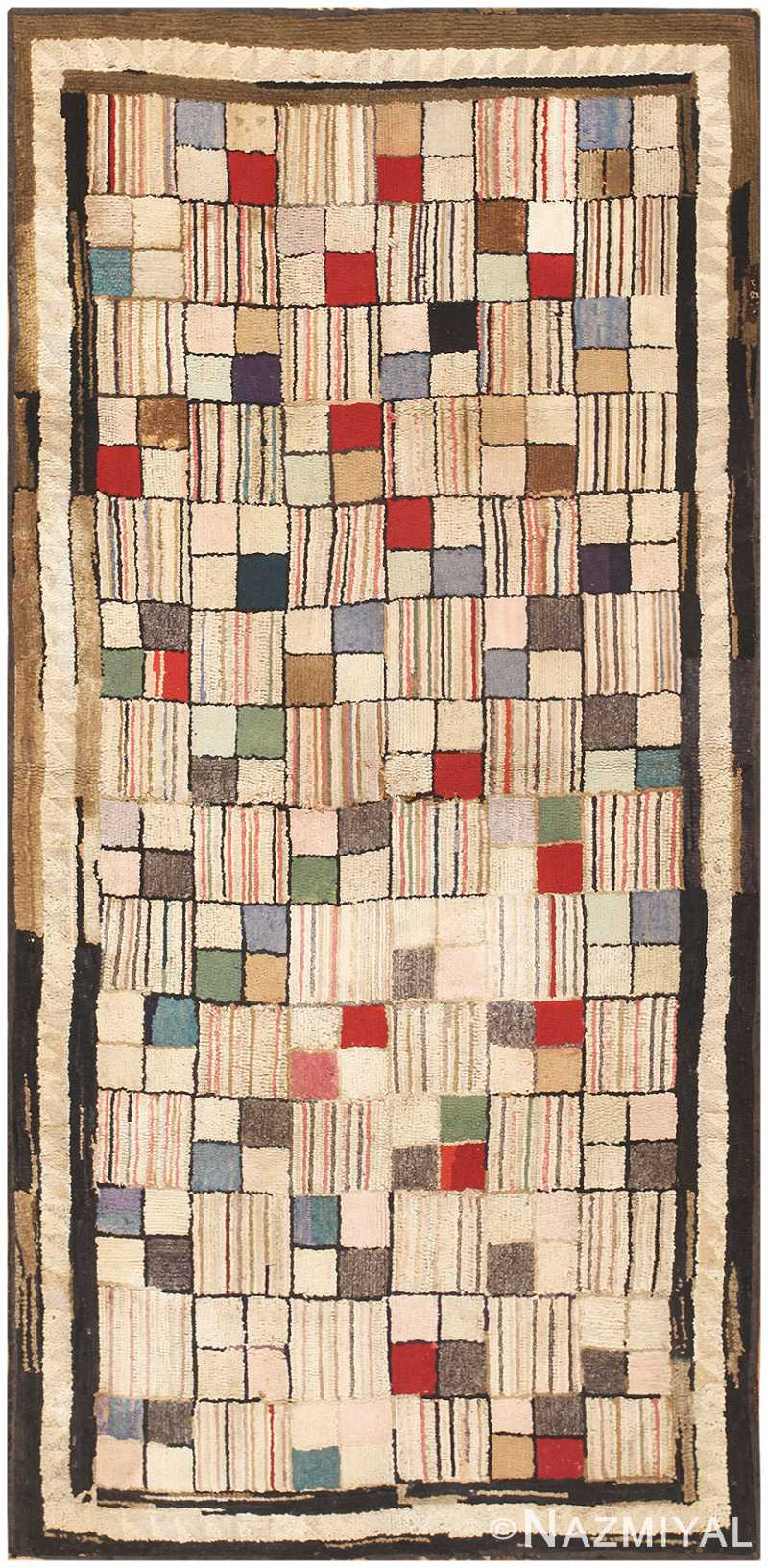 Antique American Hooked Rug 2623 by Nazmiyal