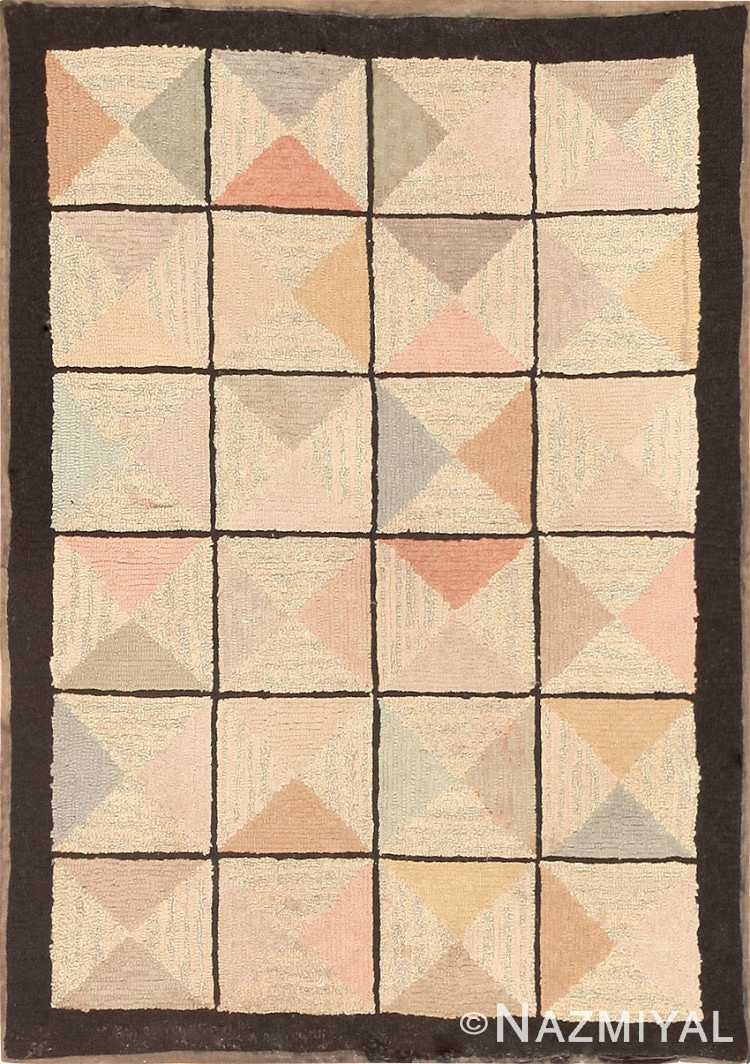 Antique American Hooked Rug 40325 Detail/Large View
