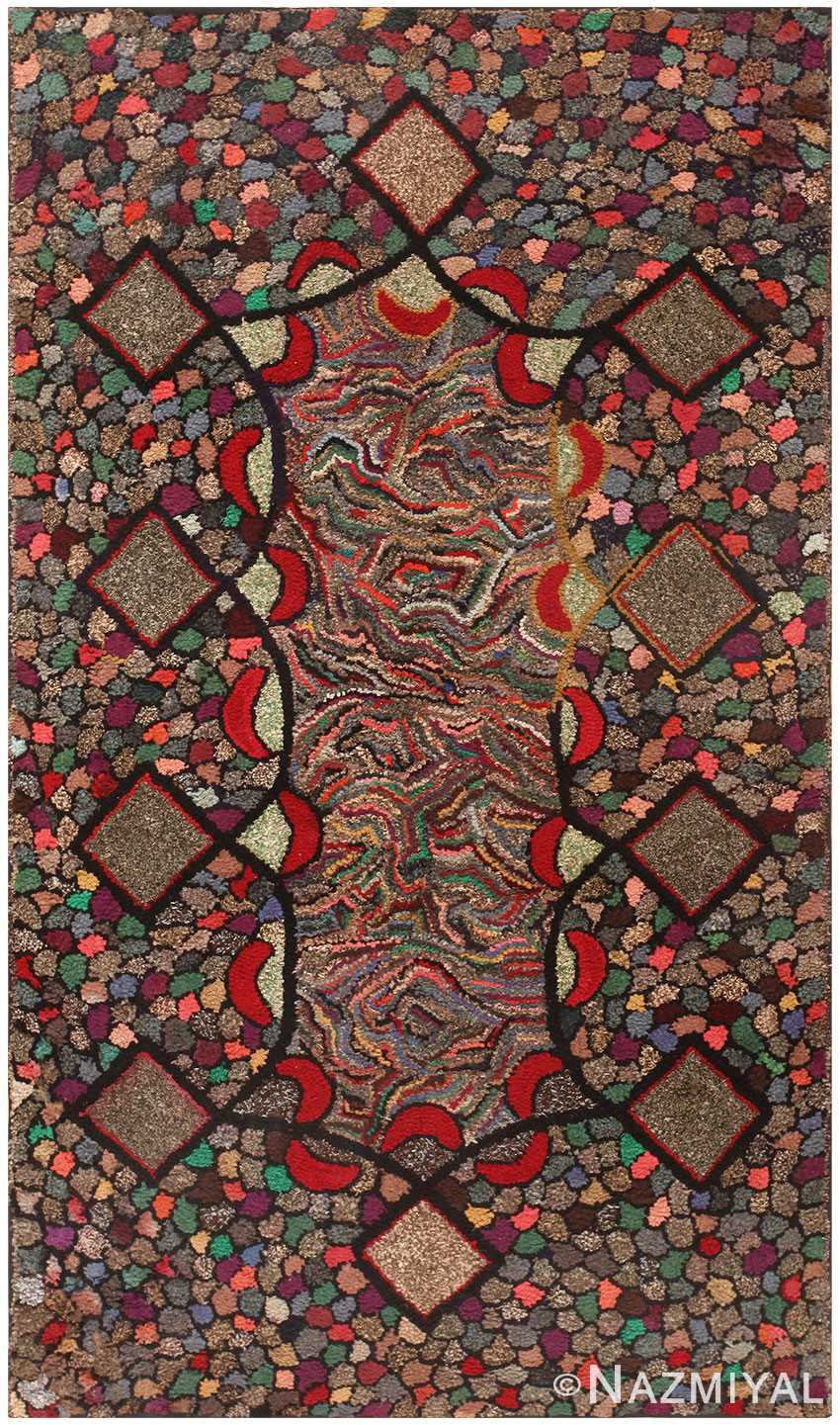 Antique American Deco Hooked Rug 50309 by Nazmiyal