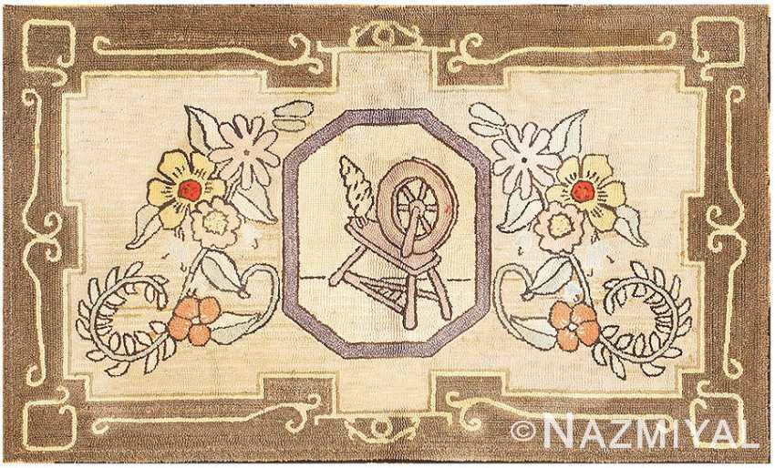 Antique American Hooked Rug with Spinning Wheel Motif 2691 Nazmiyal