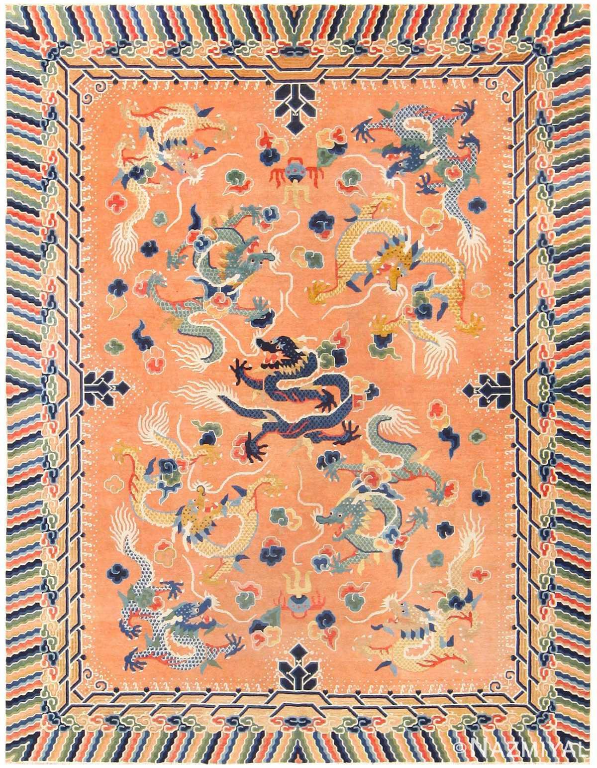 Antique Chinese Dragon Carpet 48571 Nazmiyal