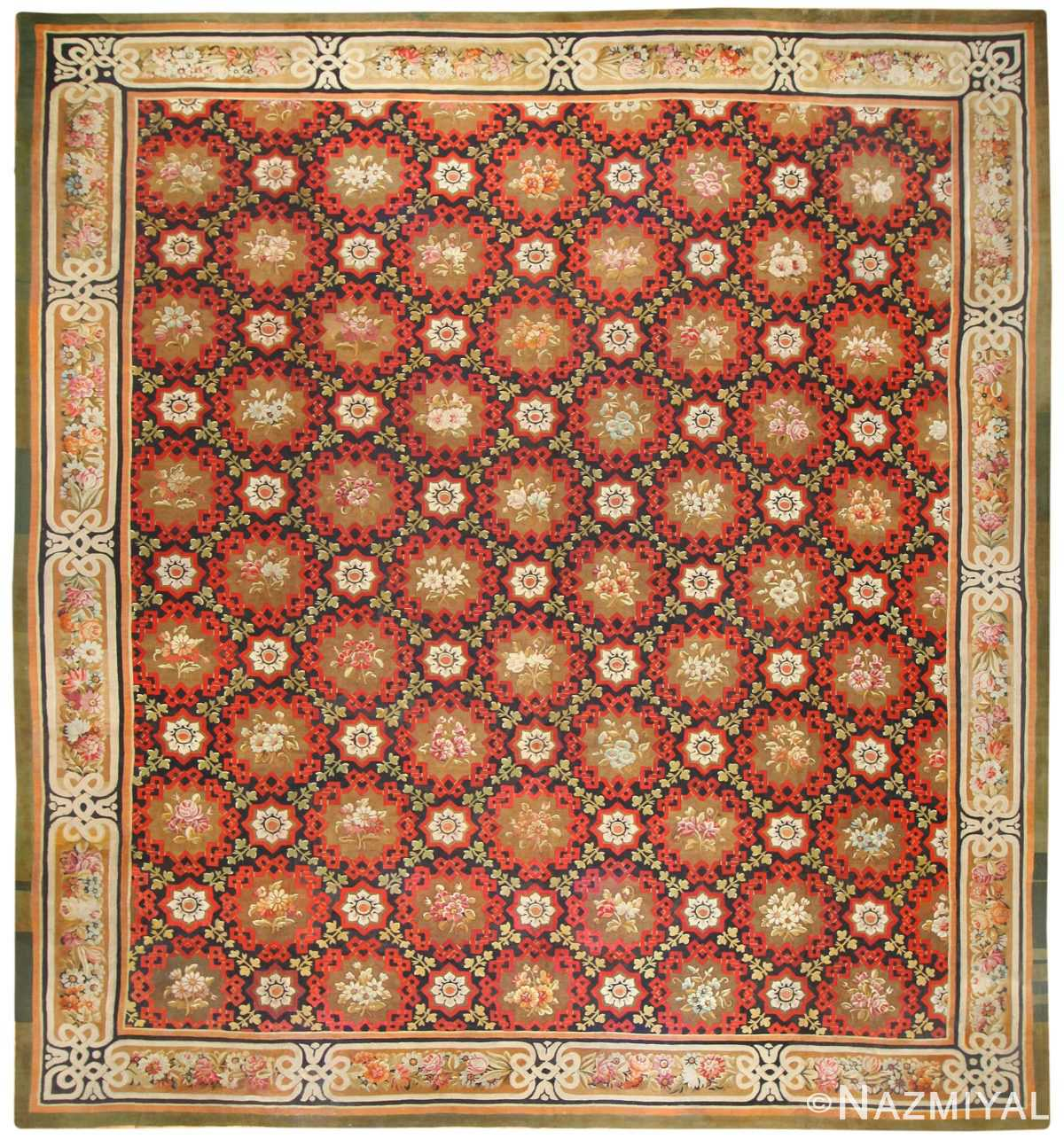 Antique French Aubusson Rug Circa 1850, 50143 Nazmiyal