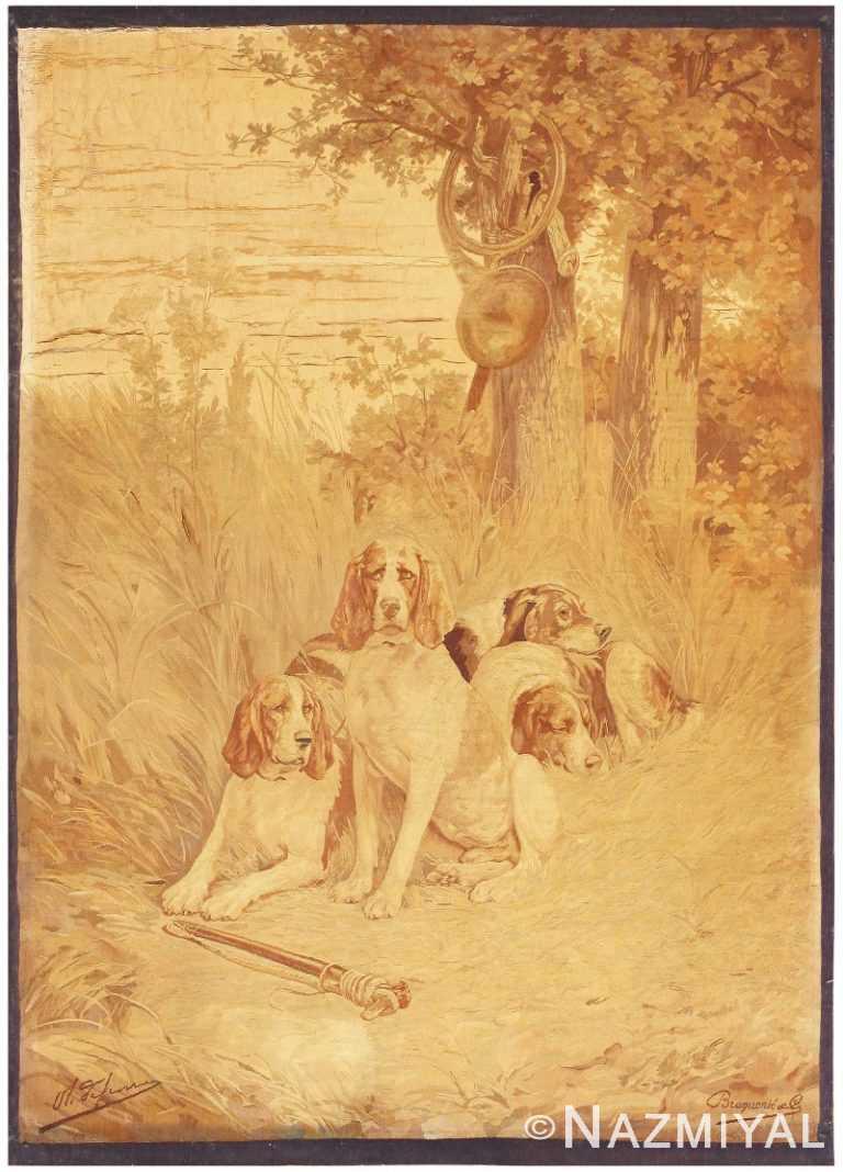 Antique French Tapestry Dog Rug 2069 Nazmiyal