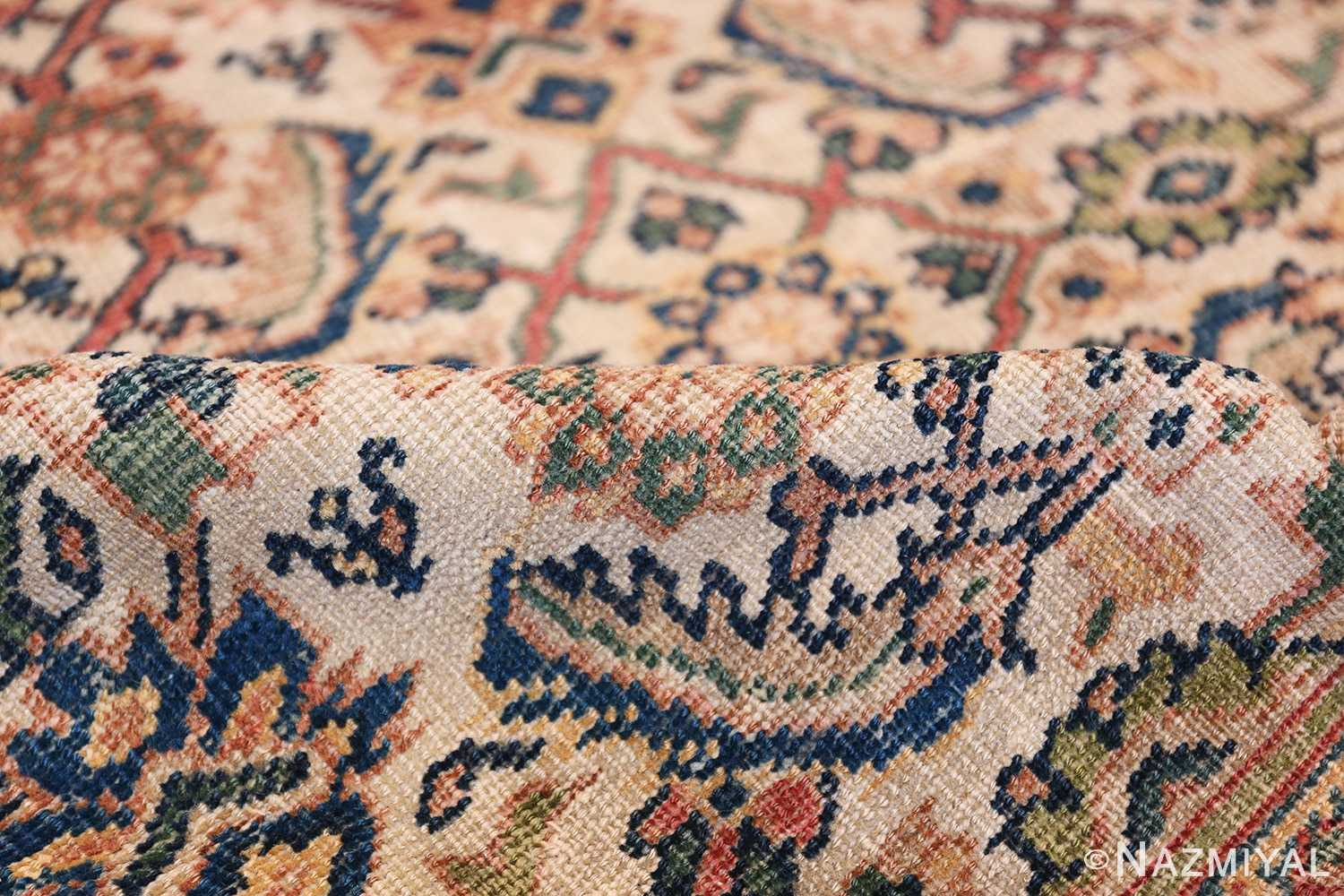 Antique Persian Sultanabad Carpet 50248 Ivory Pile Nazmiyal