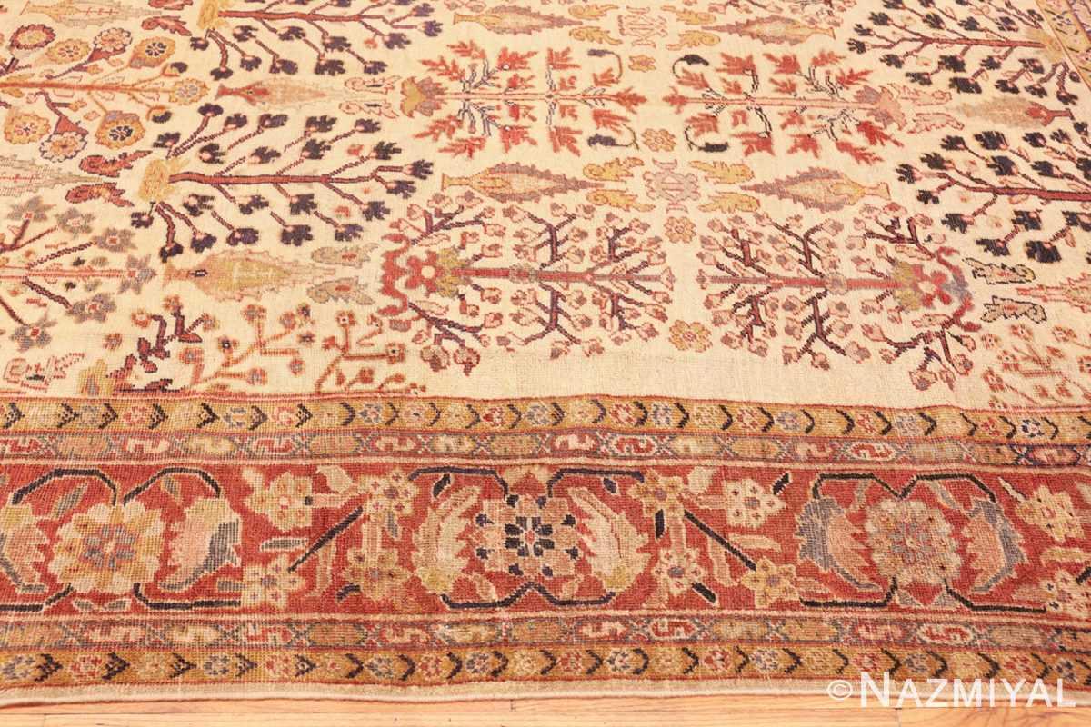 Border Antique Ivory Persian Sultanabad rug 50095 by Nazmiyal