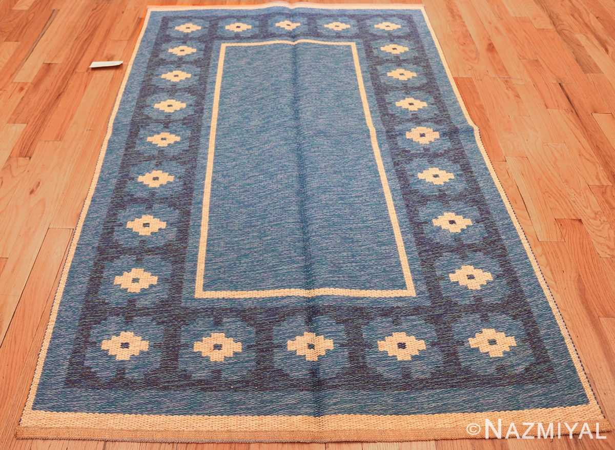 double sided blue vintage swedish kilim 48561 blue whole Nazmiyal