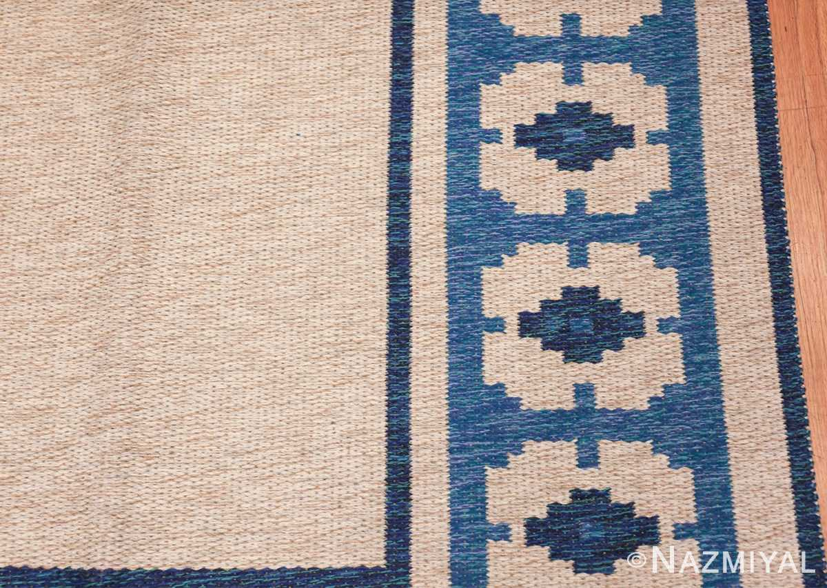 double sided blue vintage swedish kilim 48561 border Nazmiyal