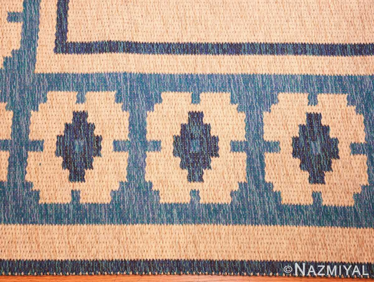 double sided blue vintage swedish kilim 48561 border white Nazmiyal