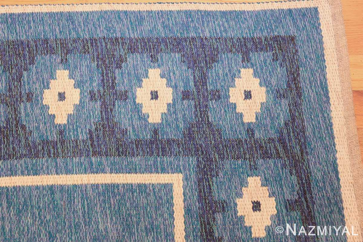 double sided blue vintage swedish kilim 48561 corner Nazmiyal