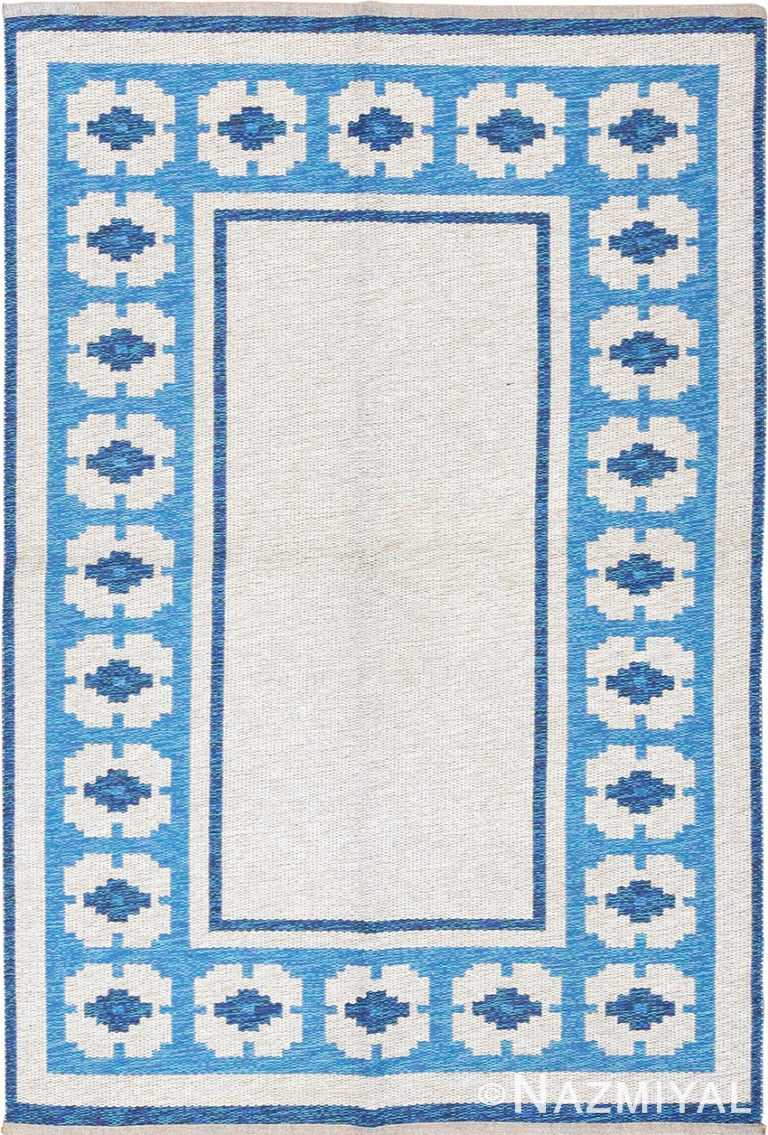 double sided blue vintage swedish kilim 48561 Nazmiyal