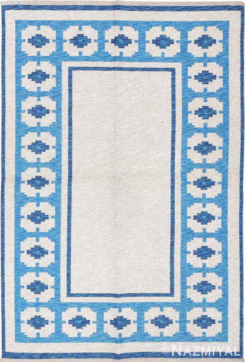double sided blue vintage swedish kilim 48561 Nazmiyal