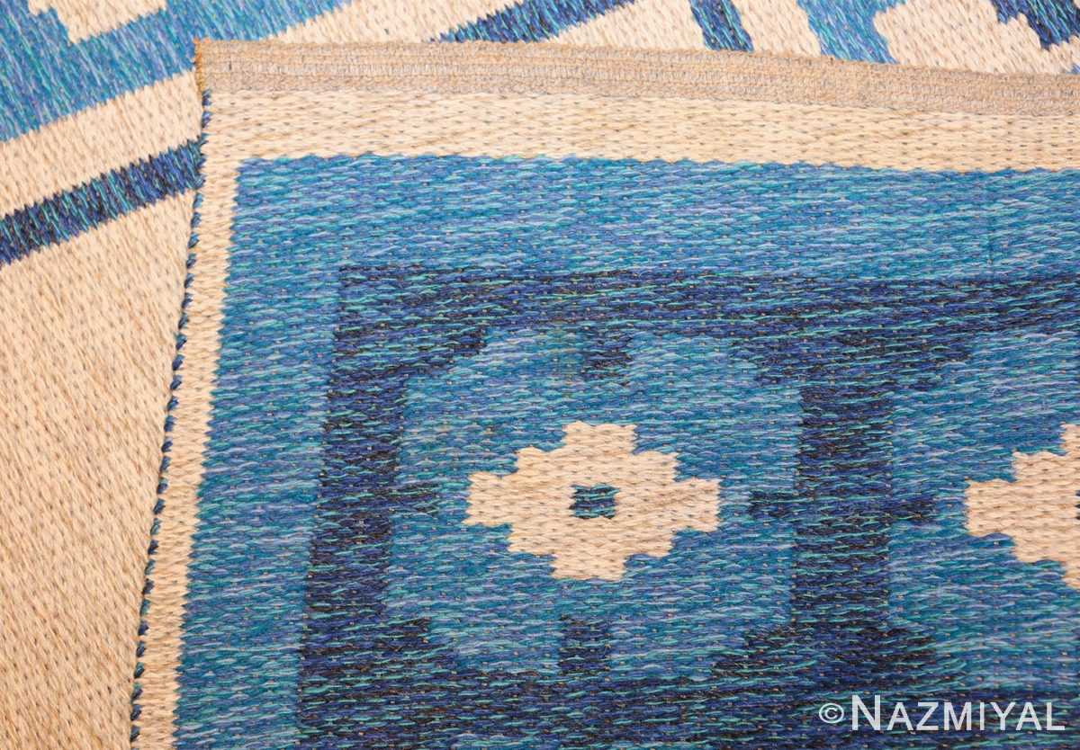 double sided blue vintage swedish kilim 48561 weave Nazmiyal