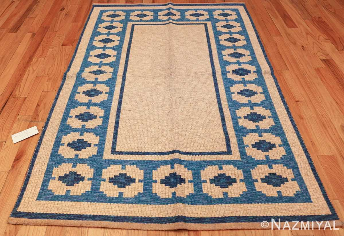 double sided blue vintage swedish kilim 48561 whole white Nazmiyal