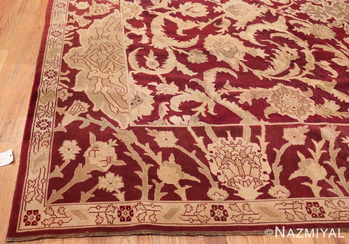 Large Antique Indian Agra Rug 44603 Side Corner Nazmiyal
