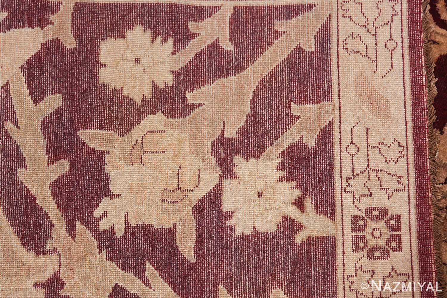 Large Antique Indian Agra Rug 44603 Woven Knots Nazmiyal