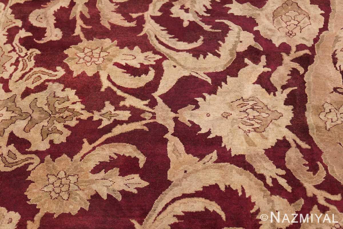 Large Antique Indian Agra Rug 44603 Yellow Leaves Nazmiyal