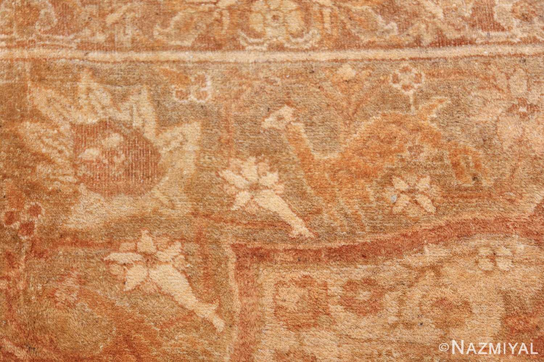 large gold antique indian agra rug 50261 deer Nazmiyal