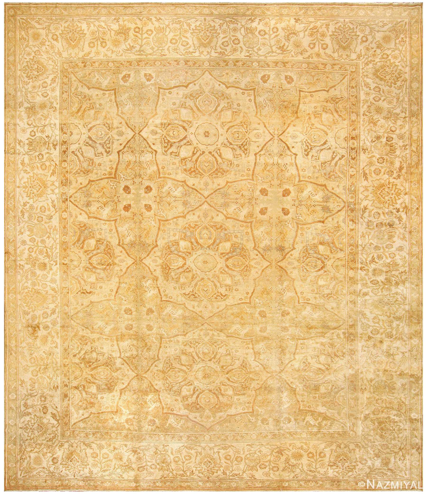 Large Gold Antique Indian Agra Rug 50261 by Nazmiyal
