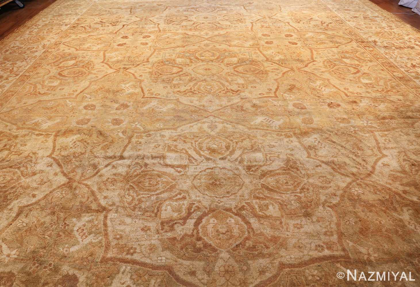 large gold antique indian agra rug 50261 field Nazmiyal