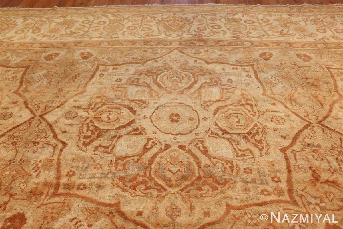 large gold antique indian agra rug 50261 medallion Nazmiyal