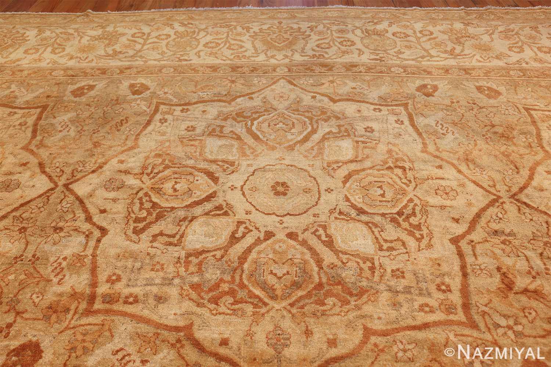 large gold antique indian agra rug 50261 medallion Nazmiyal