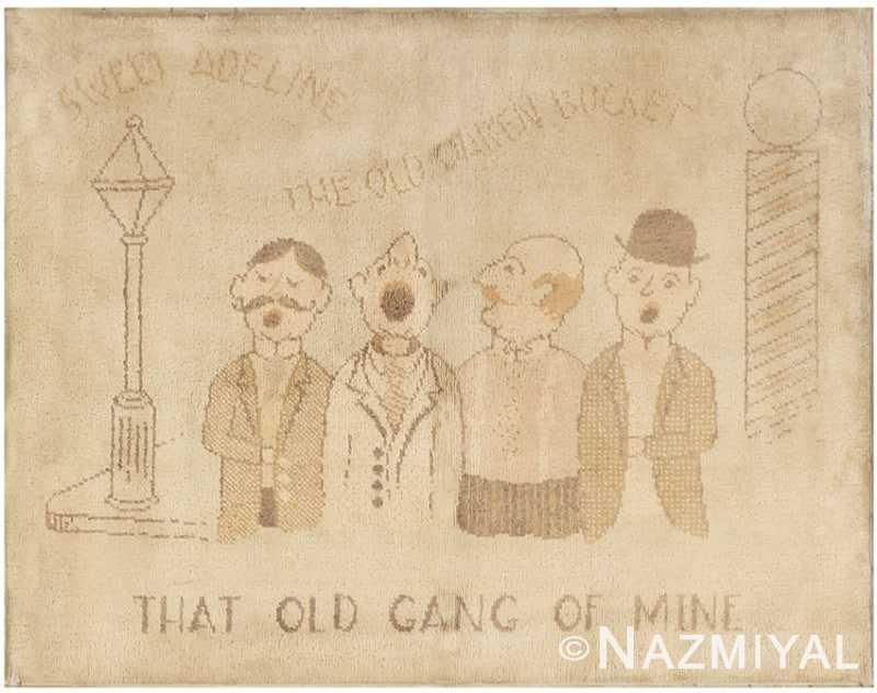 Vintage American Hooked Rug with Barbershop Quartet Design 2059 Nazmiyal