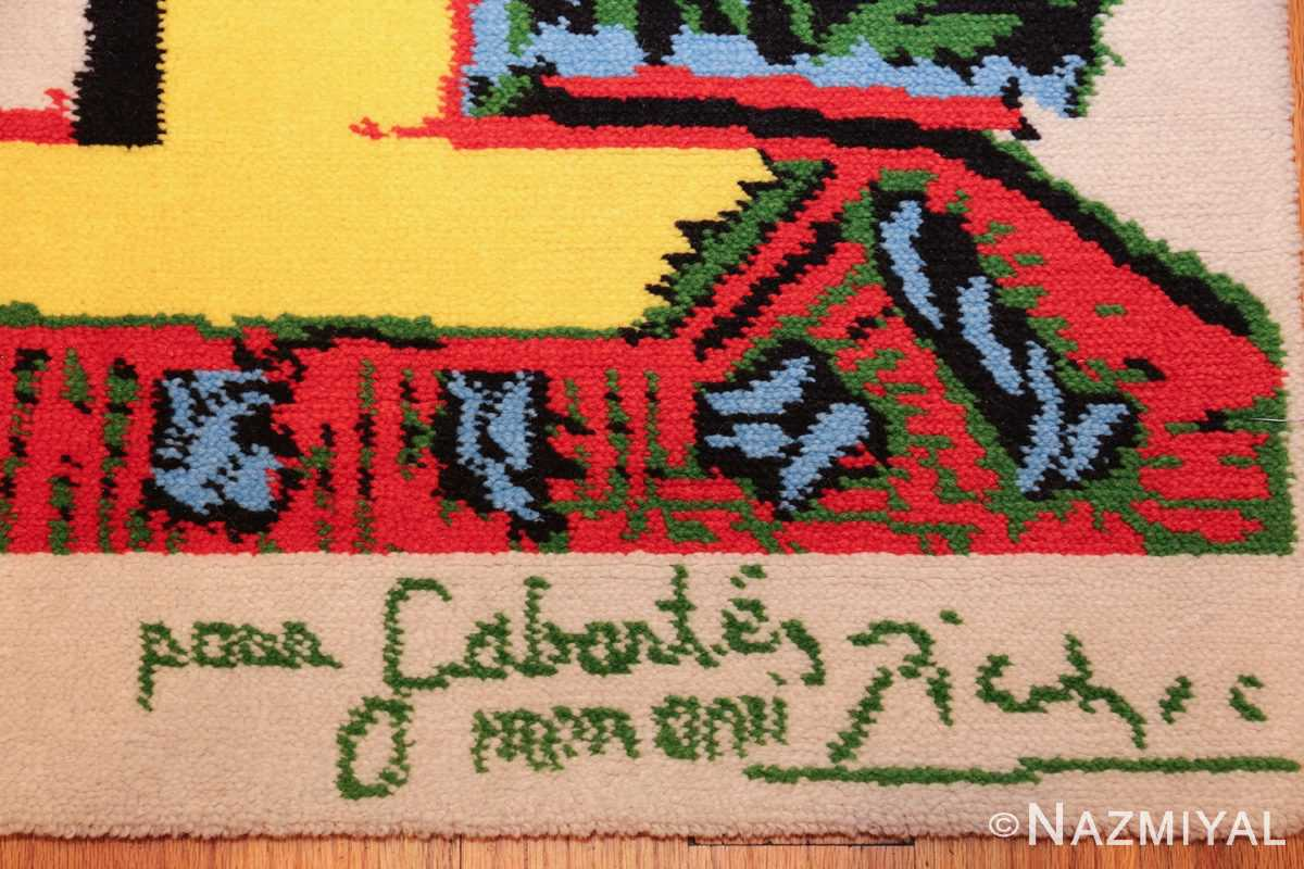 vintage pablo picasso rug 46873 signature Nazmiyal