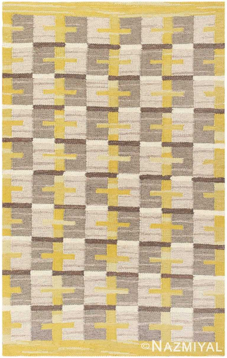 Vintage Scandinavian Swedish Kilim 48560 Nazmiyal
