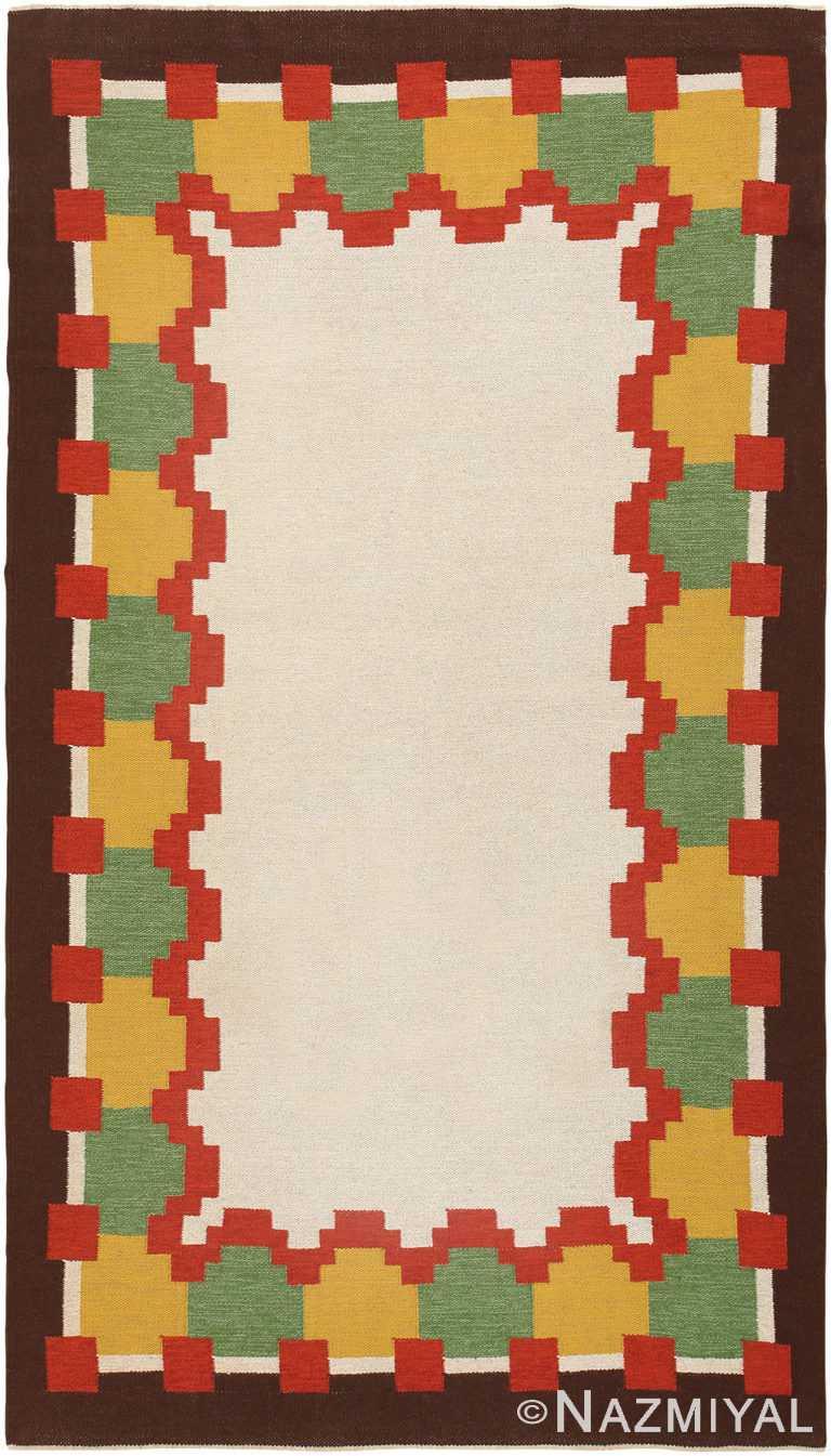 Vintage Scandinavian Flat Woven Swedish Kilim Rug #46860 by Nazmiyal Antique Rugs