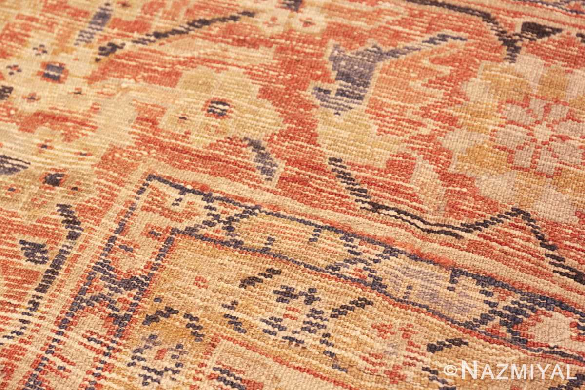 Weave detail Antique Ivory Persian Sultanabad rug 50095 by Nazmiyal