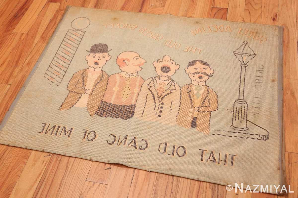 Back Vintage Folk Art American hooked barbershop quarted design 2059 by Nazmiyal collection