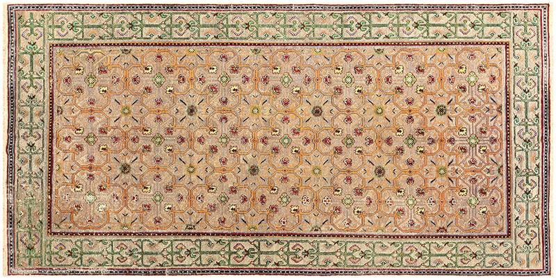 Antique Metallic Silver Silk Khotan Rug 50286 by Nazmiyal