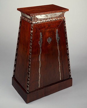 Mahogany and silver Coin cabinet, Met Museum of Art by Nazmiyal