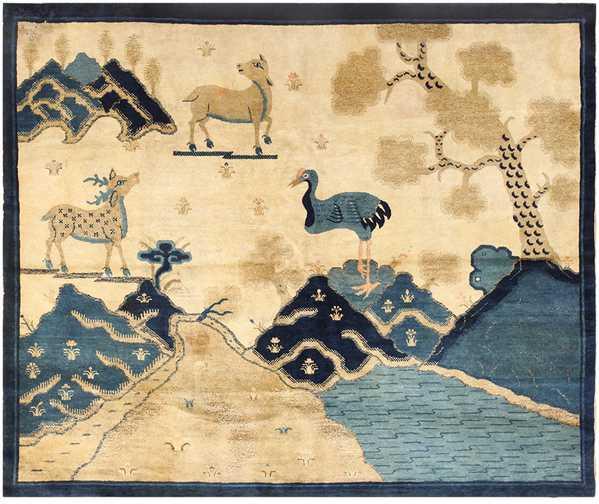 Antique Chinese Animal Scene Carpet 48434