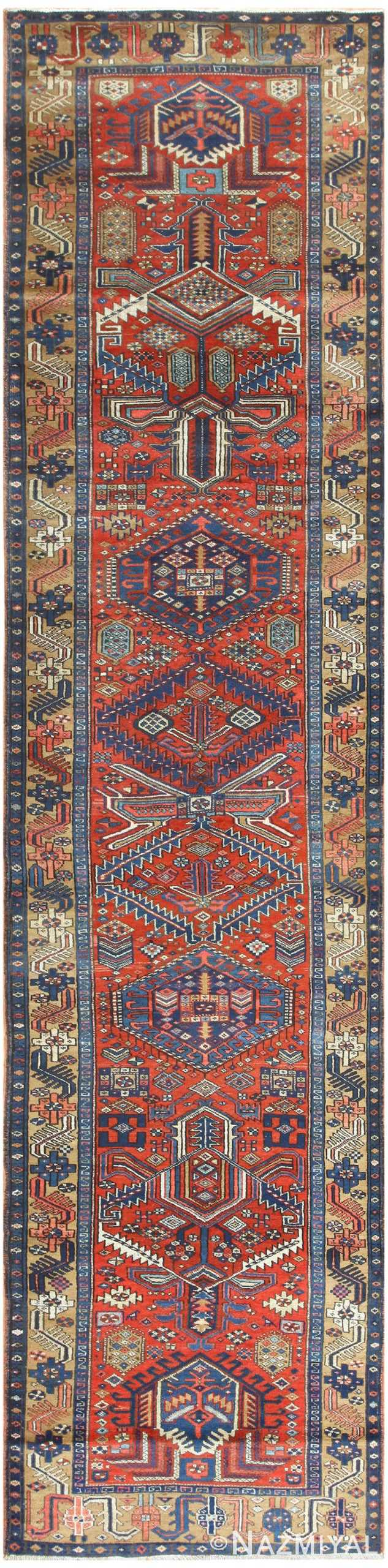 Antique Heriz Persian Runner 50175 Nazmiyal