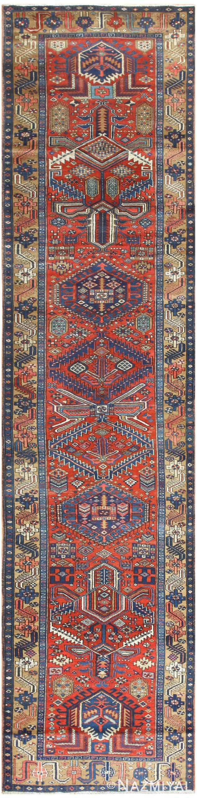 Antique Heriz Persian Runner 50175 Nazmiyal