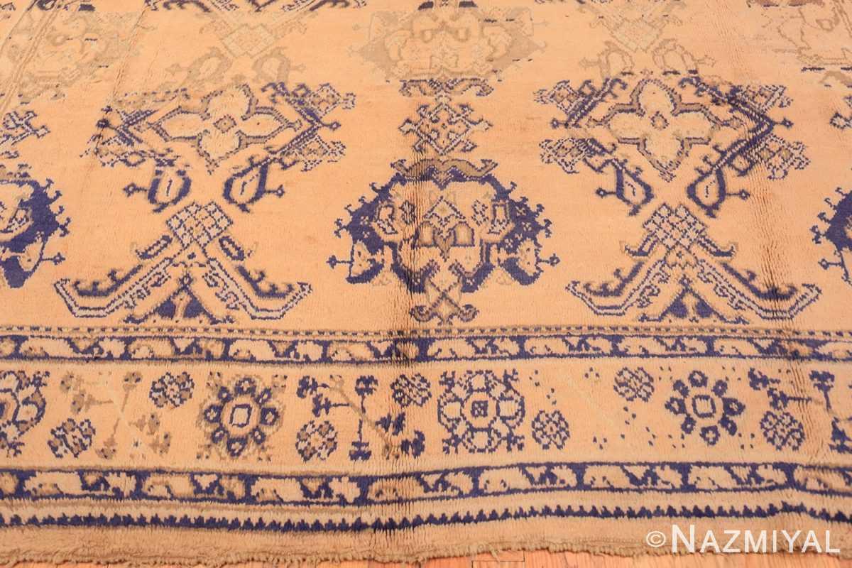 Border decorative square size antique Turkish Oushak carpet 47140 by Nazmiyal