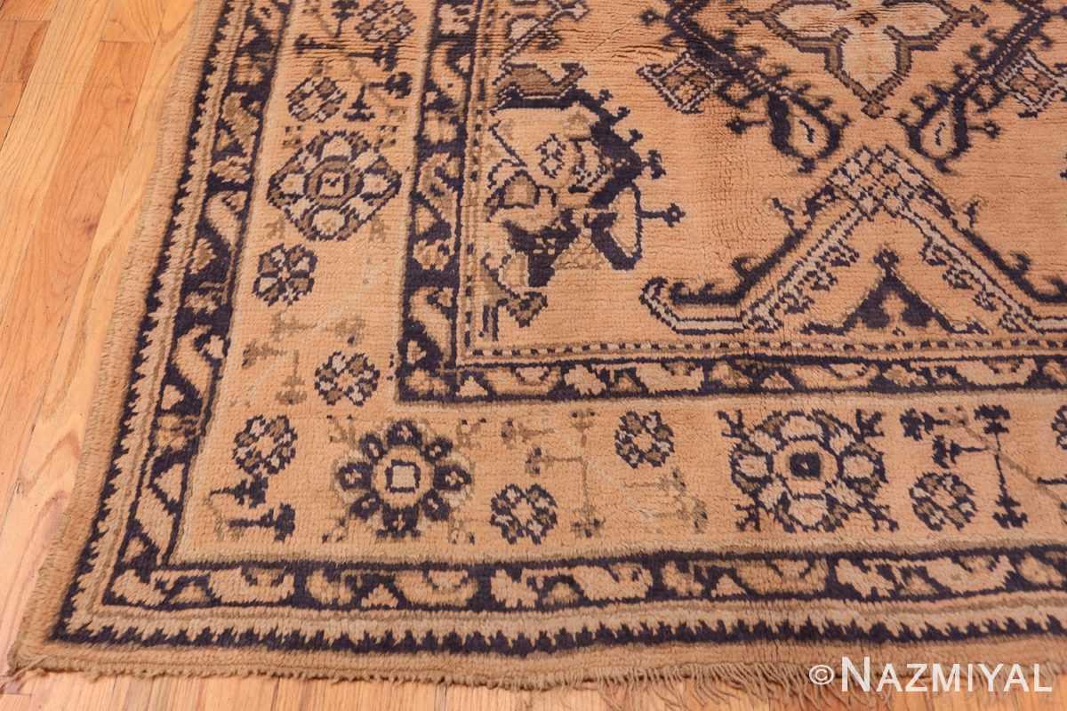 Corner decorative square size antique Turkish Oushak carpet 47140 by Nazmiyal