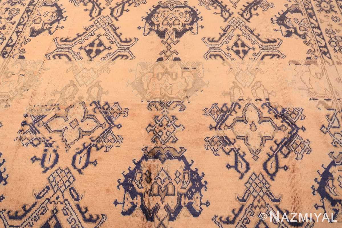 Field decorative square size antique Turkish Oushak carpet 47140 by Nazmiyal