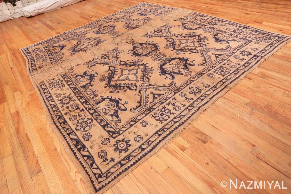 Full decorative square size antique Turkish Oushak carpet 47140 by Nazmiyal