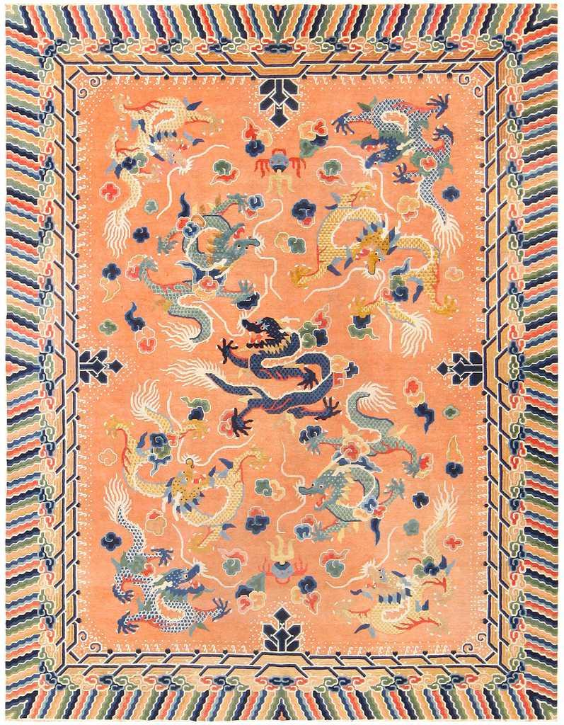 Antique Chinese Dragon Carpet 48571 by Nazmiyal