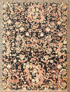 Beautiful Antique Black Background Caucasian Karabagh Rug 50366 Nazmiyal