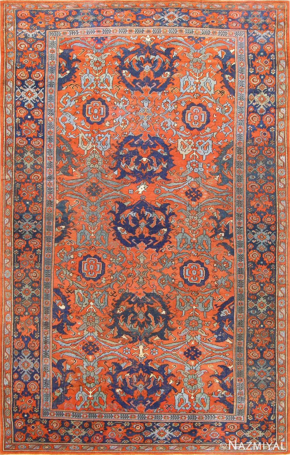 Antique 18th Century Turkish Smyrna Oushak Rug 47436 Nazmiyal