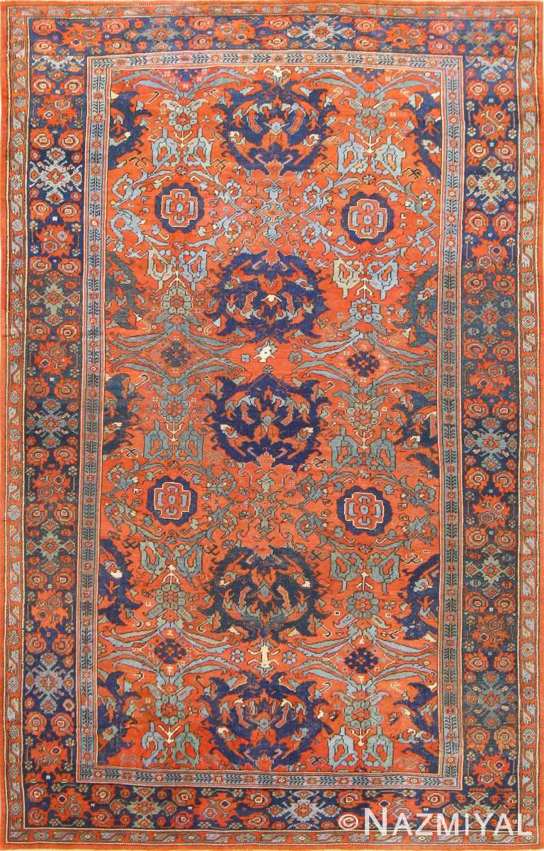 Antique 18th Century Turkish Smyrna Oushak Rug 47436 Nazmiyal